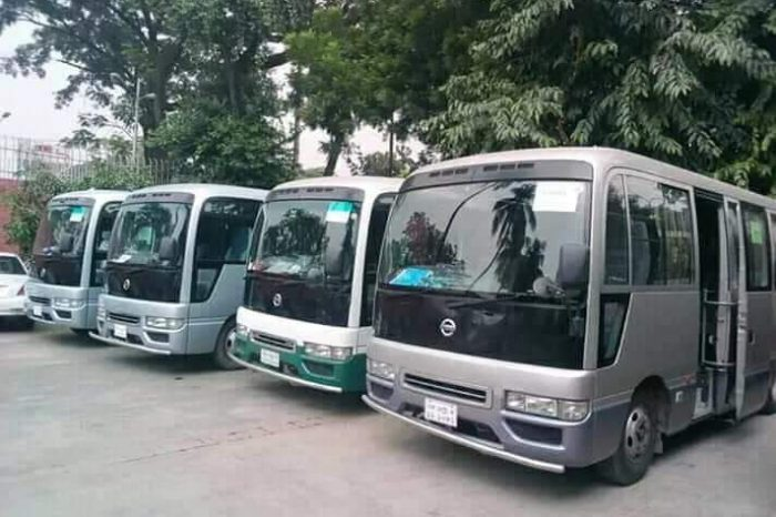 Get Monthly Ac Mini Bus Rental for Office Transport in Darus Salam