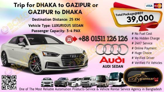 Dhaka To Gazipur (Audi Sedan)